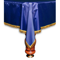Покрывало Элегант 12фт влагостойкое синее/жёлтая бахрома
