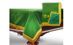 Чехол для б/стола 9-3 (зеленый с желтой бахромой, с логотипом)