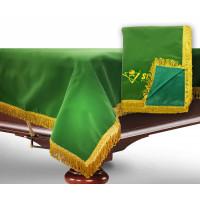 Чехол для б/стола 12-3 (зеленый с желтой бахромой, с логотипом)
