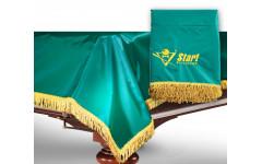 Чехол для б/стола 12-2 (зеленый с зеленой бахрамой, с логотипом)